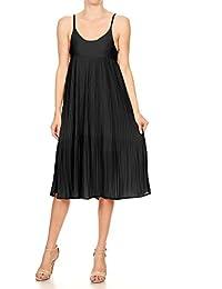 Womens Juniors Sleeveless Spaghetti Strap Pleated Midi Cocktail Dress
