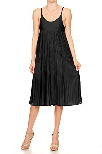 Anna-Kaci Womens Sleeveless Spaghetti Strap Pleated Midi Dress, Black, Small