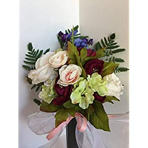 GRAVE DECOR- CEMETERY MARKER- FUNERAL- MEMORIAL ARRANGEMENT- FLOWER VASE - BURGUNDY RANUNCULUS, CREAM PEONIES, GREEN & WHITE HYDRANGEAS, PURPLE LAVENDER, PEACH CABBAGE ROSES, AND PURPLE & BLUE PANSIES 9