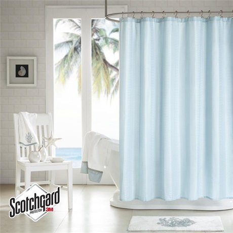 h2ology waffle weave shower curtain blue 3m scotchgard finish mildew resistant 72x72. Black Bedroom Furniture Sets. Home Design Ideas