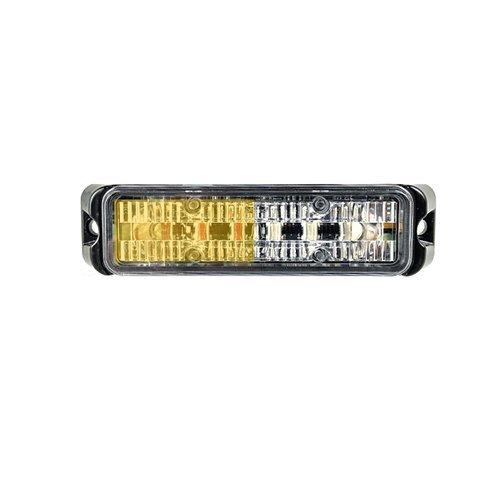 Abrams Flex Series (Amber/White) 18W - 6 LED Snow Plow Truck Vehicle LED Grille Light Head Surface Mount Strobe Warning Light ()