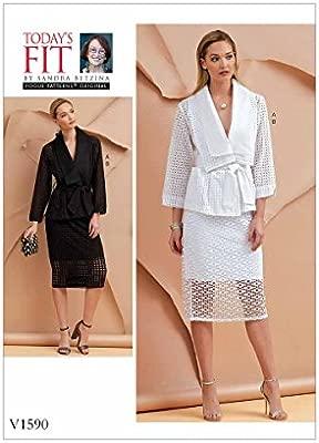 Vogue Patterns Chaqueta para Mujer, cinturón y Falda, Verde ...