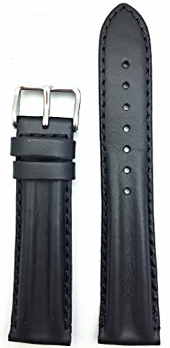 18mm Oily Black Leather, Twin Padded Stylish Watch Band