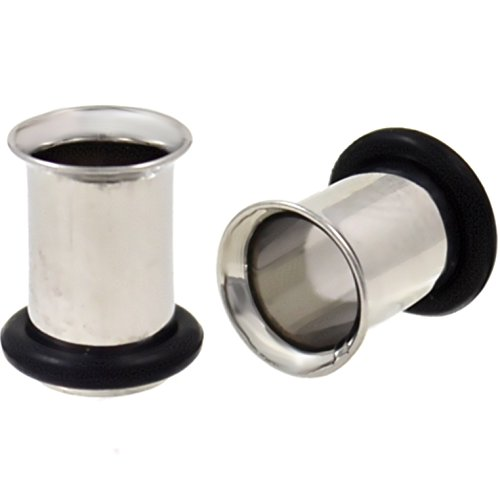 Pair (2) Stainless Steel Single Flared Tunnels Ear Plugs Gauges - 1 Gauge(1G-7mm)