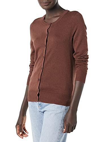 Amazon Essentials Leichter Pullover mit Rundhalsausschnitt Cardigan Sweater, Dunkles Kastanienbraun meliert, XXL