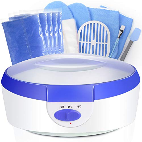 Paraffin Wax for Hands and Feet Ejiubas Paraffin Wax Warmer Quick-Heating Paraffin Wax Machine Moisturizing Kit with Paraffin Wax Refill Thermal Mitts Gloves Silicone Brush Paraffin Bath Spa Blue