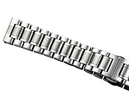 24mm Mens Deluxe Wide Solid Stainless Steel Watch Bracelets Wristbands with Both Curved and Straight Ends | Amazon.com