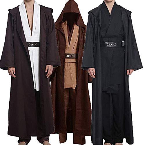 Wecos Adult Halloween Jedi Costume Tunic Robe Outfit Three Versions (Medium, Black(Tunic))]()