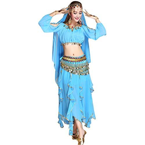 pour Unie Longue Ensemble Bleu Femme de Ventre Maxi TianBin Jupes Couleur Lac Soie Jupe Mousseline 3 de Danse de du 6Bwv8a