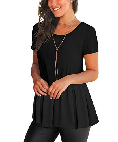 FHKDL Womens Short Sleeve Shirts Plain Ruffle Hem Tunics Casual Tops Blouses Black, Medium