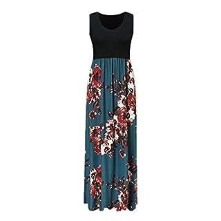 HONROY Women Casual Boho Floral Print Summer Sleeveless Tank Long Maxi Party Dress