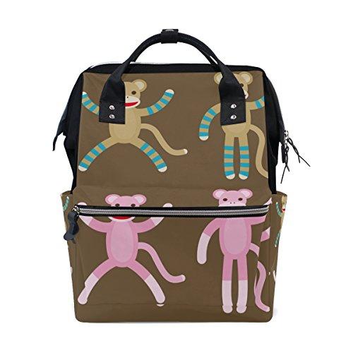 MaMacool Mummy bag Diaper Tote Bags Larger Capacity Baby Nappy Bag Fashion Sock Monkeys Muti-Function Travel Backpack