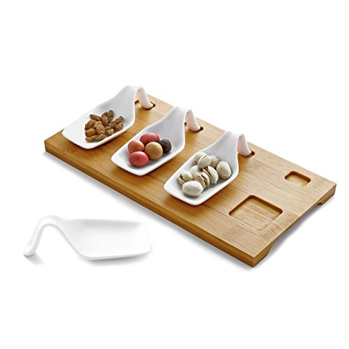 Sampling Tray - Amuse Bouche Tasting Serving Set with 4 White Ceramic Spoons & Bamboo Tray