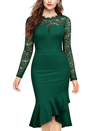 Knitee Women's Floral Lace See Through Long Sleeves Business Casual Evening Nightout Party Slim Fit Sheath Dress