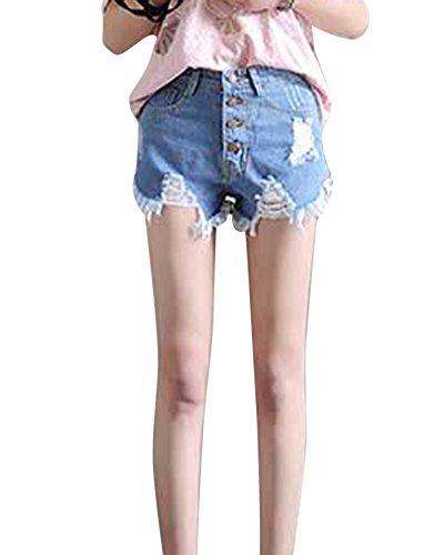 Alta Azzurro Jeans Frange Pantaloncini Chiaro Occasionale Di Vita Donne BqXn05x