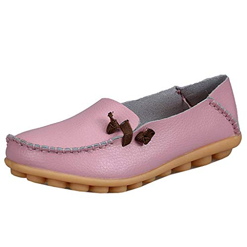Rosa In Uk Con Flat colore Donna Da Mocassini Dimensione Pelle Shoe Arrotondati Lacci 5 vwxAH6x1q
