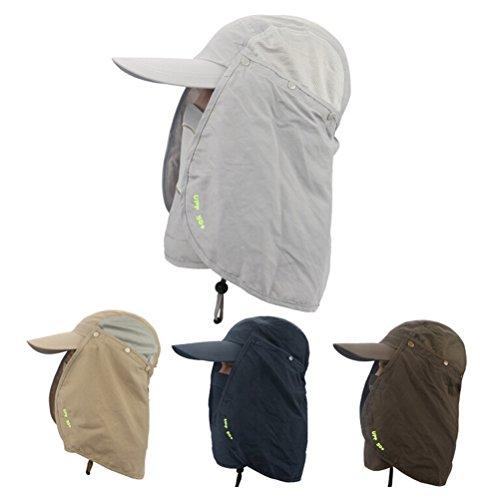 WINOMO 50 + UV Protection Extérieure Multifonctionnelle Sport Protection Casquette avec Visière Amovible Pare-soleil et le Masque (Gris Foncé)