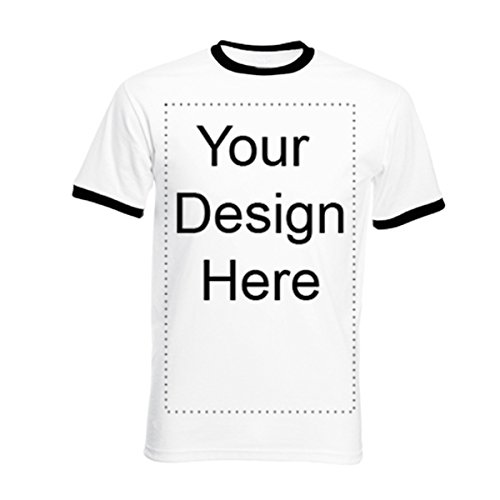 Custom Ringer - Add Your Own Personalized Message or Image Custom Text Name Men Ringer T-Shirts, Mens-White/Black-XLarge