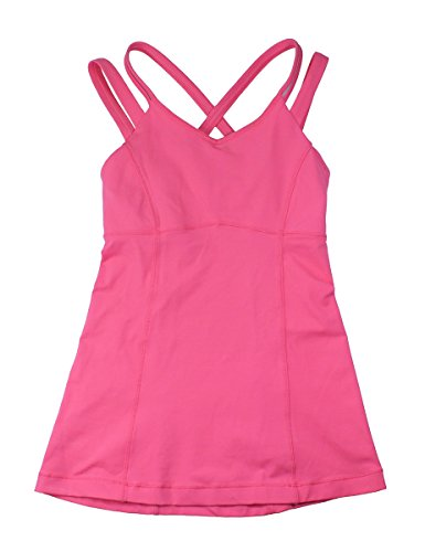 Lululemon Womens Pink Lemonade Tight Fit Sports Happy Strappy Tank