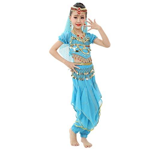 Allywit Handmade Children Girl Belly Dance Costumes Kids Belly Dancing Egypt Dance Cloth (L, Light Blue)
