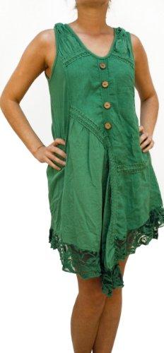 Lino Xxl Color Xl Verde 07718 Lino Mujer Blanco De Marrón Rojo M Beige nbsp;vestido Túnica Verde Disfraz La L 100 UOOTEqnp