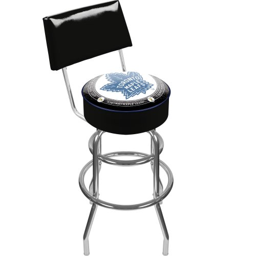 (NHL Toronto Maple Leafs Padded Swivel Bar Stool with Back)