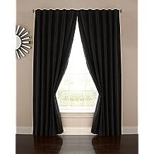 "Absolute Zero Velvet Blackout Home Theater Curtain Panel, 108"", Black"