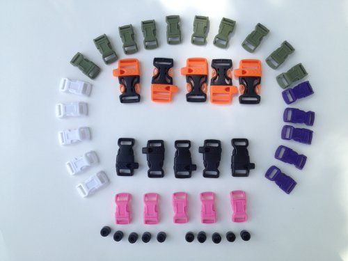 Paracord Bracelet Buckle Kit Survival Bracelet Colored Contoured Buckles Survival Whistle Buckles Paracord Lanyard Connectors Break Away Necklace Clasp Lanyard Safety All in One Paracord Supply Connector Kit (Mega Buckle Pack)