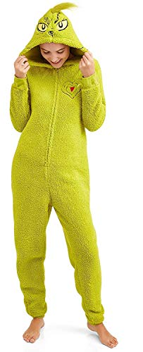 Grinch Women's Licensed Sleepwear Adult Costume Union Suit Pajama (XS-3X) S