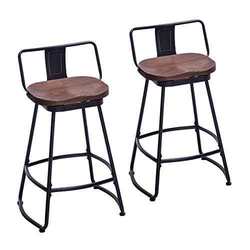 (HAOBO Home Bar Stools Industrial Metal bar Stools Counter Height Stools for Indoor/Outdoor Dining Chair Set of 2 (Low Back Swivel Black with Wood U4-M, 26