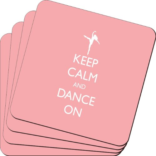 Rikki Knight Keep Calm and Dance on Light Pink Color Design Soft Square Beer Coasters (Set of 2), Multicolor