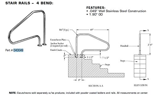 (Inter-Fab D4D049 Deck to Deck Mounted 4 Bend Stainless Steel 304 Stair Rail)