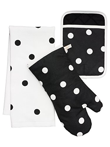 Kate Spade New York 3pc Kitchen Set - Oven Mitt, Pot Holder & Kitchen Towel (Black ()