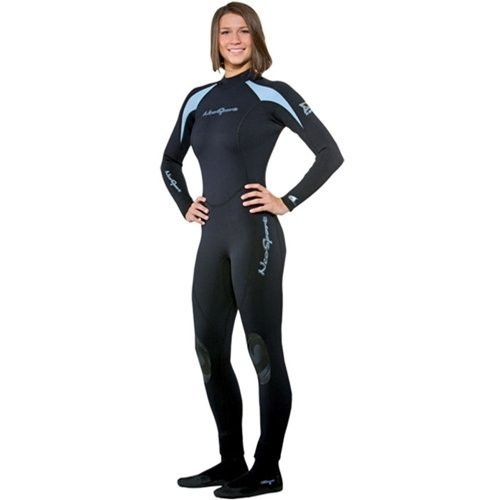 NeoSport Wetsuits Women's XSPAN Full Jumpsuit, Powder Blue Trim, 4 - Diving, Snorkeling & Wakeboarding