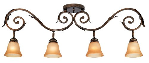 Pro Track Bronze Scroll 4-Light Amber Glass Track Fixture (4 Scroll Light)