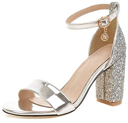 (Easemax Women's Glittery Sequined Open Toe Ankle Buckle Strap Pendant D'Orsay High Chunky Heel Sandals Silver 5 M US)