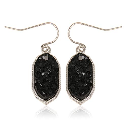 RIAH FASHION Lightweight Acrylic Stone Druzy Crystal Oval Drop Earrings - Sparkly Geometric Polygon Hook Dangles Hexagon, Decagon (Decagon - Black/Gold)