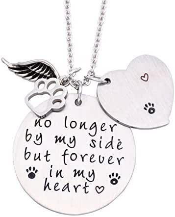 O.RIYA Loss of Pet Necklace, Dog Cat Hand Stamped Jewelry, Pet Memorial Necklace