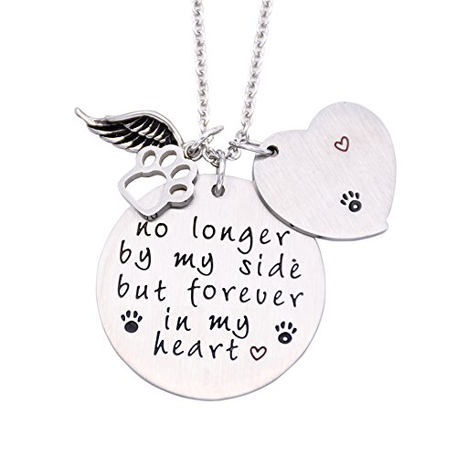 O.RIYA Loss of Pet Necklace, Pet Memorial Necklace, Dog Cat Hand Stamped Jewelry (Necklace Pet)