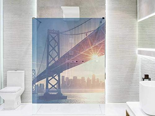 Vinilo Transparente para Mamparas de Ducha y Baños Puente Manhattan | Varias Medidas 185x110cm | Adhesivo Resistente y de Fácil Aplicación | Pegatina Adhesiva Decorativa de Diseño Elegante: Amazon.es: Hogar