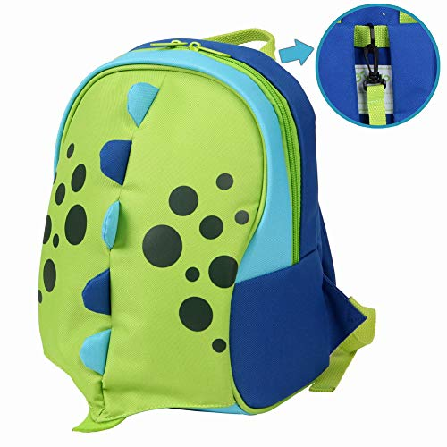 yodo Kids Insulated Toddler Backpack with Safety Harness Leash and Name Label - Playful Preschool Kids Lunch Bag, Dinosaur