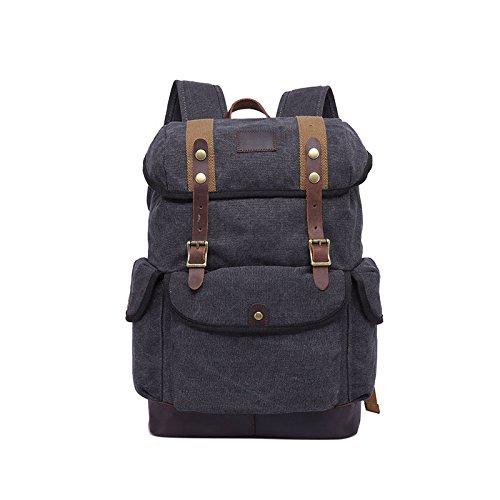 BAGEHUA 大容量のキャンバスバッグは、男性と女性の屋外適用トラベルバッグ、レトロな耐久性に優れたバックパック(幅 31 センチ、高さ 45 cm 、厚さ 15.5 cm ) B076K35HLL black black