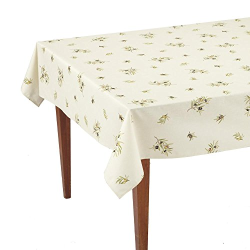 Occitan Imports Clos des Oliviers Ecru All Over Rectangular French Tablecloth, Coated Cotton, 61 x 98 (6-8 people)
