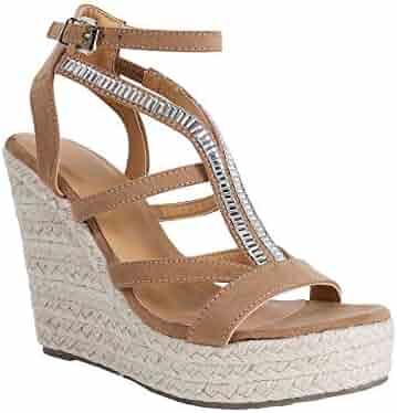 2ef8934f2 Syktkmx Womens Strappy Platform Wedge Sandals Open Toe Espadrille High  Heeled Gladiator Sandals
