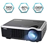 Projector, WiMiUS 3800 Lumens Video Projector Support 200' Display Full HD 1080P 50,000 Hours LED Video Projector, Compatible with TV Stick, HDMI, VGA, USB, PS3, Smartphones for Home Theater