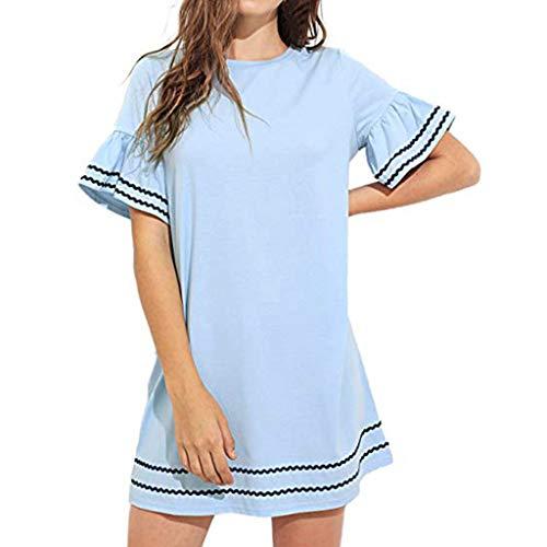 Mikilon Women's Summer Crewneck Plain Short Ruffle Sleeves Sloose Swing Mini Casual Dress Blue