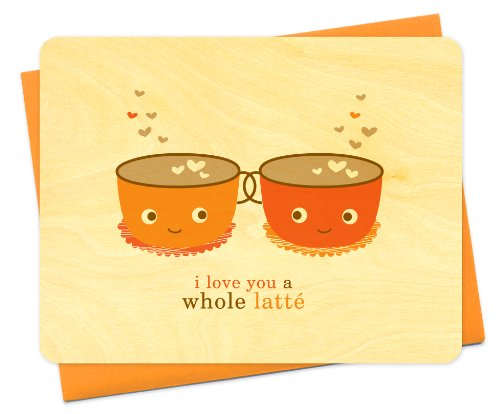 Latte Love Wood Card by Night Owl Paper Goods ()
