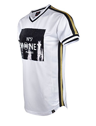 SCREENSHOTBRAND-S11804 Mens Hipster Hip-Hop Premium Tees - New York Latest Fashion 2 Way Sequins Jersey - White - Medium ()