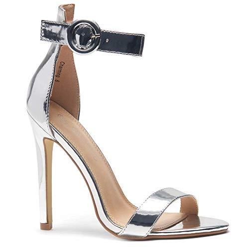 Herstyle Charming Women's Open Toe Ankle Strap Stiletto Heel Dress Sandals Elegant Wedding Party Shoes Silver 10.0