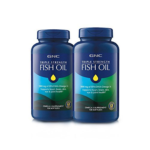 GNC Triple Strength Omega 3 Fish Oil 1000mg, 120 Count, Supports Joint, Skin, Eye, and Heart Health